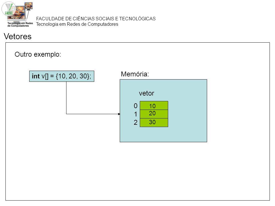 Vetores Outro exemplo: Memória: vetor 1 2 int v[] = {10, 20, 30}; 10
